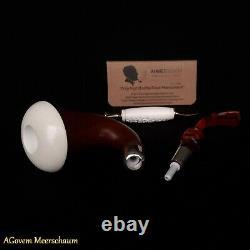 Mahagony Calabash Block Meerschaum Pipe, Silver Spigot System, Tamper, AGM290