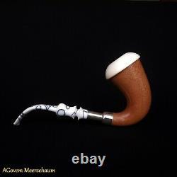 Mahagony Calabash Block Meerschaum Pipe, Silver Spigot System, Tamper, AGM293