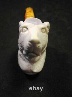 Meerschaum 100% block hand carved BEAR by CELEBI in Turkey in custom case