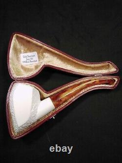 Meerschaum 100% block pipe hand carved by CELEBI in Turkey custom bent