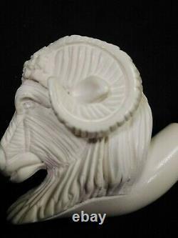 Meerschaum RAM 100%block hand carved by CELEBI in Turkey new Pipe in case