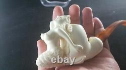 Mermaid meerschaum pipe, smoking pipe, hand carved pipe, block meerschaum