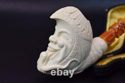 Moon & Octopus Pipe By I Baglan Block Meerschaum Handmade NEW With Case#589