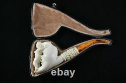 Moon and Naked Lady Artwork Pipe, Unsmoked Pipe, Block Meerschaum