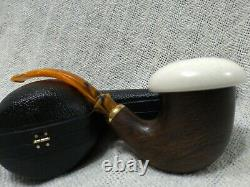 Morta Pipe with Block Meerschaum Insert Calabash Pipe handcarved by CPW #a34