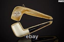 Muhsin Smooth Billiard PIPE-BLOCK MEERSCHAUM-NEW-HAND CARVED W Case#1094
