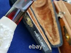 NEVER SMOKED Rare Antique Block Meerschaum Cigar Mouth Holder Tip Turkey in Case