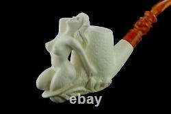 Nude Lady Smoking Pipe Block Meerschaum-NEW Handmade Custom Made Fitted Case1057