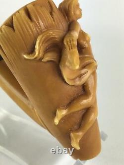 Nude lady Empossed Pipe By KARAHAN-new-block Meerschaum Handmade W Case#56