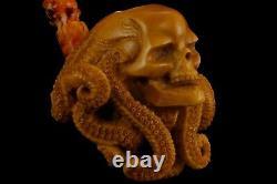 Octopus Skull Figure Pipe By ALI Handmade Block Meerschaum-NEW W CASE#1145