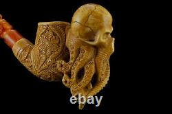 Octopus Skull Pipe By ALI Block Meerschaum Handmade NEW With Case#163
