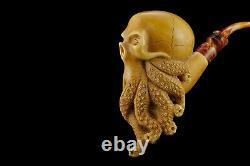 Octopus Skull Pipe By ALI Block Meerschaum Handmade NEW With Case#935