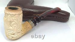 Old KONCAK pipe HEAVY BLOCK Meerschaum LARGE CHIMNEY with original CASE RESTORED