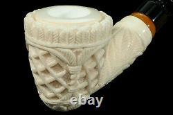Ornate Acorn Pipe new-block Meerschaum Handmade W Case#1094