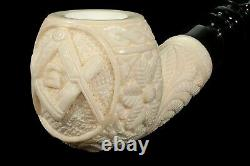 Ornate Apple Masonic Emblem Pipe new-block Meerschaum Handmade W Case#158