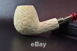 Ornate Apple PIPE BLOCK MEERSCHAUM-NEW-HAND CARVED SPIGOT W Case#1204