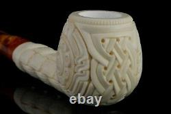 Ornate Apple Pipe By EGE New Block Meerschaum Handmade With Custom Case#1511