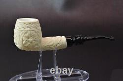 Ornate Apple Pipe New Block Meerschaum Handmade W Case#1221