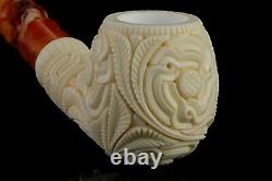 Ornate Apple Shape PIPE By EGE BLOCK MEERSCHAUM-NEW-HAND CARVED W Case#1356