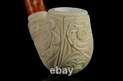 Ornate Bent Egg PIPE By EGE BLOCK MEERSCHAUM-NEW-HAND CARVED With Case#540