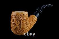 Ornate Bent Masonic Pipe New Block Meerschaum Handmade W Case#459