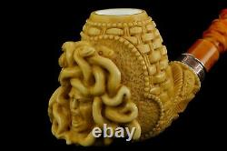 Ornate Bowl Medusa Pipe By Altay Block Meerschaum Handmade NEW With Case#848