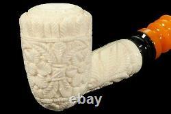 Ornate Poker Pipe new-block Meerschaum Handmade W Case#509