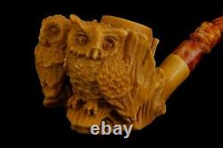 Owl Figure Pipe By Koray Block Meerschaum-NEW Handmade W CASE#92