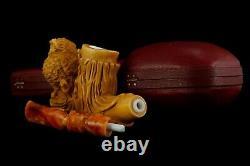 Owl Figure Pipe By Koray Block Meerschaum-NEW Handmade W CASE#950