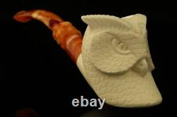 Owl Hand Carved Block Meerschaum Pipe with custom CASE 12223