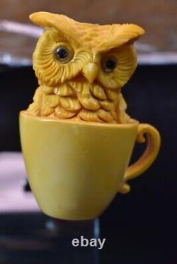 Owl In A Cup Pipe BY SADIK YANIK Block Meerschaum-NEW Handmade W CASE#490