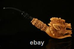Parade Dragon Hand Carved Block Meerschaum Pipe by Kenan with case 12659