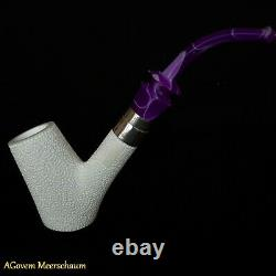 Poker Block Meerschaum Pipes, 925 Silver, Smoking Pipe, Tobacco + CASE AGM85