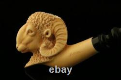 RAM Hand Carved Block Meerschaum Pipe by Kenan with case 10189