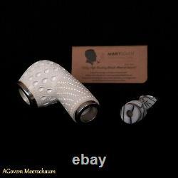 REVERSE Block Meerschaum Pipes Tamper w Silver, Pipa Di Schiuma Di Mare CASE 334