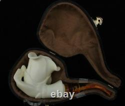 ROSE IN HAND Block Meerschaum Smoking Tobacco Pipe Pipa Pfeife + CASE AGV-2529