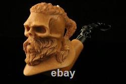 Ragnar Viking Warrior Skull Block Meerschaum Pipe by Kenan with CASE 11434