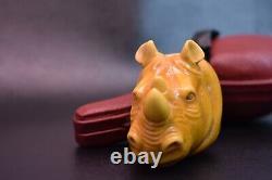 Rhino Head Pipe By Kenan Block Meerschaum-NEW Handmade With Case#1327