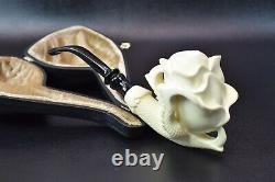 Rose In Eagle Claw Pipe By ALI New Block Meerschaum Handmade W Case-Stand#400