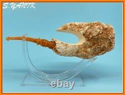 S. YANIK MEERSCHAUM Pipe Large NATURAL BLOCK STONE ALIEN XENOMORPH FITTED CASE