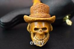 SKULL Pipe W Hat BY Ali Block Meerschaum-NEW Handmade W CASE#1127