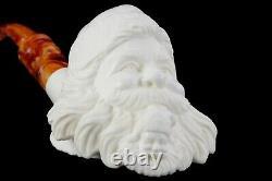 Santa Smoking Himself Pipe By Erdogan Handmade Block Meerschaum-NEW W CASE#835