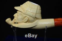 Sherlock Holmes And Dr. Watson pipes New Block Meerschaum Handmade W Case#762