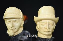 Sherlock Holmes &Dr Watson pipes New Handmade Block Meerschaum W Case#568