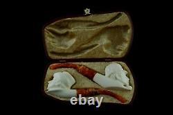 Sherlock Holmes figure&Dr Watson pipes New Handmade Block Meerschaum W Case#1144