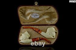 Sherlock Holmes figure&Dr Watson pipes New Handmade Block Meerschaum W Case#918