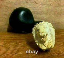 Signed Hand Carved Ural Block Meerschaum Pipe Lion's Head with Custom Case
