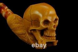 Skeleton Hand Holds Skull Pipe By Ali New Block Meerschaum Handmade W Case#438