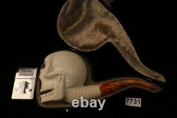 Skull Hand Carved Block Meerschaum Pipe in a fitted CASE 7731