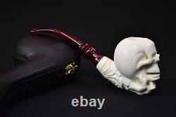 Skull In Bone Hand Pipe New Block Meerschaum Handmade W Case-Stand#1061